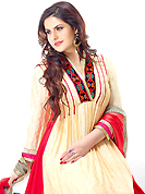 This season dazzle and shine in pure colors. The dazzling buttercream jacquard anarkali churidar suit have amazing embroidery patch work is done with resham and lace work. Beautiful embroidery work on kameez is stunning. The entire ensemble makes an excellent wear. Matching santoon churidar and red faux chiffon dupatta is available with this suit. Slight Color variations are possible due to differing screen and photograph resolutions.