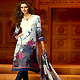 Off White and Grey Faux Crepe Churidar Kameez with Dupatta