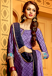 The most beautiful refinements for style and tradition. The dazzling purple faux crepe churidar suit have amazing embroidery patch work is done with resham, zari, sequins and stone work. The entire ensemble makes an excellent wear. Matching churidar and double dye dupatta is available with this suit. Slight Color variations are possible due to differing screen and photograph resolutions.
