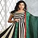 Beige and Black Cotton Silk Readymade Anarkali Churidar Kameez with Dupatta