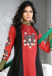 The fascinating beautiful subtly garment with lovely patterns. The dazzling red and black art silk and chiffon readymade anarkali churidar suit have amazing embroidery patch work is done with resham, stone and lace work. Beautiful embroidery work on kameez is stunning. The entire ensemble makes an excellent wear. Matching black santoon churidar and green chiffon dupatta is available with this suit. Slight Color variations are possible due to differing screen and photograph resolutions.