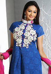A desire that evokes a sense of belonging with a striking details. The dazzling dark blue jacquard readymade churidar suit have amazing embroidery patch work is done with resham, sequins and lace work. Beautiful embroidery work on kameez is stunning. The entire ensemble makes an excellent wear. Matching churidar and pink dupatta is available with this suit. Slight Color variations are possible due to differing screen and photograph resolutions.