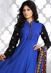 Take a look on the changing fashion of the season. The dazzling blue and black georgette readymade anarkali churidar suit have amazing embroidery patch work is done with zari, stone and lace work. Beautiful embroidery work on kameez is stunning. The entire ensemble makes an excellent wear. Matching black churidar and maroon dupatta is available with this suit. Slight Color variations are possible due to differing screen and photograph resolutions.
