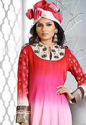Style and trend will be at the peak of your beauty when you adorn this suit. The dazzling shaded red and pink georgette readymade anarkali churidar suit have amazing embroidery patch work is done with resham, zari, stone and lace work. Beautiful embroidery work on kameez is stunning. The entire ensemble makes an excellent wear. Matching dark pink santoon churidar and shaded dupatta is available with this suit. Slight Color variations are possible due to differing screen and photograph resolutions.