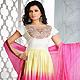White, Light Yellow and Pink Cotton Readymade Anarkali Churidar Kameez with Dupatta