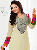 Attract all attentions with this embroidered suit. The dazzling cream faux georgette churidar suit have amazing embroidery patch work is done with resham work. Beautiful embroidery work on kameez is stunning. The entire ensemble makes an excellent wear. Matching santoon churidar and faux georgette dupatta is available with this suit. Slight Color variations are possible due to differing screen and photograph resolutions.