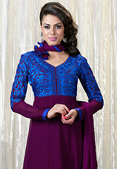 Outfit is a novel ways of getting yourself noticed. The dazzling dark purple and blue faux georgette churidar suit have amazing embroidery patch work is done with resham and stone work. Beautiful embroidery work on kameez is stunning. The entire ensemble makes an excellent wear. Matching santoon churidar and chiffon dupatta is available with this suit. Slight Color variations are possible due to differing screen and photograph resolutions.