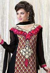 Outfit is a novel ways of getting yourself noticed. The dazzling black and dusty cream faux georgette churidar suit have amazing floral print and embroidery patch work is done with resham, stone and lace work. Beautiful embroidery work on kameez is stunning. The entire ensemble makes an excellent wear. Matching santoon churidar and chiffon dupatta is available with this suit. Slight Color variations are possible due to differing screen and photograph resolutions.