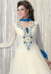 Breathtaking collection of suits with stylish embroidery work and fabulous style. The dazzling off white faux georgette churidar suit have amazing floral print and embroidery patch work is done with resham and lace work. Beautiful embroidery work on kameez is stunning. The entire ensemble makes an excellent wear. Matching santoon churidar and blue chiffon dupatta is available with this suit. Slight Color variations are possible due to differing screen and photograph resolutions.