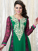 It is color this season and bright shaded suits are really something that is totally in vogue. The dazzling green faux georgette churidar suit have amazing floral print and embroidery patch work is done with resham, stone and lace work. Beautiful embroidery work on kameez is stunning. The entire ensemble makes an excellent wear. Contrasting dark pink santoon churidar and dark pink chiffon dupatta is available with this suit. Slight Color variations are possible due to differing screen and photograph resolutions.