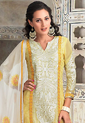An occasion wear perfect is ready to rock you. The dazzling yellow georgette churidar suit have amazing embroidery patch work is done with resham and lace work. The entire ensemble makes an excellent wear. Matching santoon churidar and off white chiffon dupatta is available with this suit. Slight Color variations are possible due to differing screen and photograph resolutions.