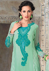 The color range from natural shades looks ravishing. The dazzling sea green georgette churidar suit have amazing embroidery patch work is done with resham work. The entire ensemble makes an excellent wear. Matching santoon churidar and chiffon dupatta is available with this suit. Slight Color variations are possible due to differing screen and photograph resolutions.