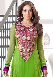 The fascinating beautiful subtly garment with lovely patterns. The dazzling green georgette and net anarkali churidar suit have amazing embroidery patch work is done with resham, zari, sequins, stone and lace work. Beautiful embroidery work on kameez is stunning. The entire ensemble makes an excellent wear. Matching santoon churidar and faux chiffon dupatta is available with this suit. Slight Color variations are possible due to differing screen and photograph resolutions.