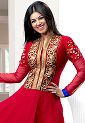 A desire that evokes a sense of belonging with a striking details. The dazzling red georgette anarkali churidar suit have amazing embroidery patch work is done with resham, zari, sequins, stone and lace work. Beautiful embroidery work on kameez is stunning. The entire ensemble makes an excellent wear. Matching santoon churidar and blue chiffon dupatta is available with this suit. Slight Color variations are possible due to differing screen and photograph resolutions.