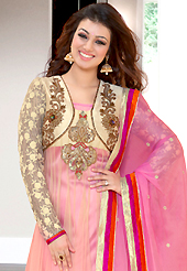 Get ready to sizzle all around you by sparkling suit. The dazzling pink and cream net anarkali churidar suit have amazing embroidery patch work is done with resham, zari, sequins, stone and lace work. Beautiful embroidery work on kameez is stunning. The entire ensemble makes an excellent wear. Matching pink santoon churidar and pink chiffon dupatta is available with this suit. Slight Color variations are possible due to differing screen and photograph resolutions.