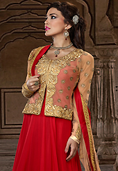 Take a look on the changing fashion of the season. The dazzling red net jacket style long anarkali churidar suit have amazing embroidery patch work is done with resham, zari, sequins, stone and lace work. Beautiful embroidery work on kameez is stunning. The entire ensemble makes an excellent wear. Matching santoon churidar and light brown chiffon dupatta is available with this suit. Slight Color variations are possible due to differing screen and photograph resolutions.