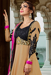 The most beautiful refinements for style and tradition. The dazzling fawn georgette long style anarkali churidar suit have amazing embroidery patch work is done with resham, stone and lace work. Beautiful embroidery work on kameez is stunning. The entire ensemble makes an excellent wear. Matching santoon churidar and pink chiffon dupatta is available with this suit. Slight Color variations are possible due to differing screen and photograph resolutions.