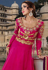 Breathtaking collection of suits with stylish embroidery work and fabulous style. The dazzling magenta georgette long style anarkali churidar suit have amazing embroidery patch work is done with resham, sequins, stone and lace work. Beautiful embroidery work on kameez is stunning. The entire ensemble makes an excellent wear. Matching santoon churidar and chiffon dupatta is available with this suit. Slight Color variations are possible due to differing screen and photograph resolutions.