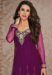 This season dazzle and shine in pure colors. The dazzling dark purple net anarkali churidar suit have amazing embroidery patch work is done with resham, stone and lace work. Beautiful embroidery work on kameez is stunning. The entire ensemble makes an excellent wear. Matching santoon churidar and chiffon dupatta is available with this suit. Slight Color variations are possible due to differing screen and photograph resolutions.
