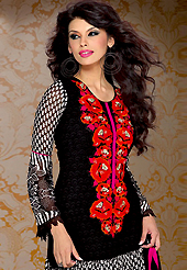 An occasion wear perfect is ready to rock you. The dazzling black and white georgette churidar suit have amazing floral print and embroidery patch work is done with resham and lace work. Beautiful embroidery work on kameez is stunning. The entire ensemble makes an excellent wear. Matching santoon churidar and chiffon dupatta is available with this suit. Slight Color variations are possible due to differing screen and photograph resolutions.