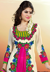 Look stunning rich with dark shades and floral patterns. The dazzling off white and pink faux georgette churidar suit have amazing embroidery patch work is done with resham, stone and lace work. The entire ensemble makes an excellent wear. Matching off white santoon churidar and green chiffon dupatta is available with this suit. Slight Color variations are possible due to differing screen and photograph resolutions.