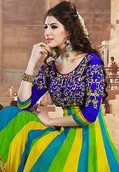 The most beautiful refinements for style and tradition. The dazzling yellow, green and blue faux georgette anarkali churidar suit have amazing embroidery patch work is done with resham and zari work. The entire ensemble makes an excellent wear. Matching blue santoon churidar and blue chiffon dupatta is available with this suit. Slight Color variations are possible due to differing screen and photograph resolutions.