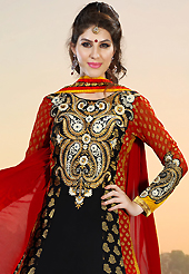 This season dazzle and shine in pure colors. The dazzling black, red and mustard faux georgette and viscose anarkali churidar suit have amazing embroidery patch work is done with resham, zari, sequins and stone work. The entire ensemble makes an excellent wear. Matching black santoon churidar and red chiffon dupatta is available with this suit. Slight Color variations are possible due to differing screen and photograph resolutions.