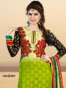It is color this season and bright shaded suits are really something that is totally in vogue. The dazzling shaded green cotton jacquard churidar suit have amazing embroidery patch work is done with resham, zari and sequins work. The entire ensemble makes an excellent wear. Contrasting red santoon churidar and yellow chiffon dupatta is available with this suit. Slight Color variations are possible due to differing screen and photograph resolutions.