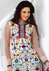 This season dazzle and shine in pure colors. The dazzling off white faux georgette churidar suit have amazing embroidery patch work is done with resham, sequins, stone, beads and lace work. The entire ensemble makes an excellent wear. Contrasting dark pink churidar and dark pink chiffon dupatta is available with this suit. Slight Color variations are possible due to differing screen and photograph resolutions.