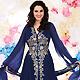 Dark Blue Georgette Churidar Kameez with Dupatta