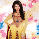 Shaded Yellow Georgette Churidar Kameez with Dupatta