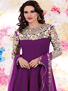 Outfit is a novel ways of getting yourself noticed. The dazzling purple georgette churidar suit have amazing embroidery patch work is done with resham, sequins and stone work. Beautiful embroidery work on kameez is stunning. The entire ensemble makes an excellent wear. Matching santoon churidar and chiffon dupatta is available with this suit. Slight Color variations are possible due to differing screen and photograph resolutions.