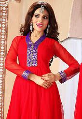 It is color this season and bright shaded suits are really something that is totally in vogue. The dazzling red net readymade churidar suit have amazing embroidery patch work is done with zari woven and brooch buttons work. The entire ensemble makes an excellent wear. Matching churidar and dupatta is available with this suit. Slight Color variations are possible due to differing screen and photograph resolutions.