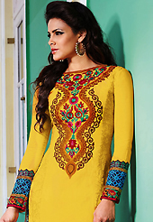 The color range from natural shades looks ravishing. The dazzling yellow lawn cotton salwar kameez have amazing embroidery patch work is done with resham work. The entire ensemble makes an excellent wear. Contrasting pink cotton salwar and yellow chiffon dupatta is available with this suit. Slight Color variations are possible due to differing screen and photograph resolutions.