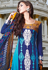 The glamorous silhouette to meet your most dire fashion needs. The dazzling blue lawn cotton trouser kameez have amazing embroidery patch work is done with resham work. The entire ensemble makes an excellent wear. Matching blue cotton trouser and blue chiffon dupatta is available with this suit. Slight Color variations are possible due to differing screen and photograph resolutions.