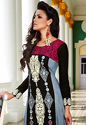 Dreamy variation on shape and forms compliment your style with tradition. The dazzling black and grey lawn cotton trouser kameez have amazing embroidery patch work is done with resham work. The entire ensemble makes an excellent wear. Matching black cotton trouser and shaded chiffon dupatta is available with this suit. Slight Color variations are possible due to differing screen and photograph resolutions.