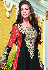 Attract all attentions with this embroidered suit. The dazzling black and rust lawn cotton trouser kameez have amazing embroidery patch work is done with resham and stone work. The entire ensemble makes an excellent wear. Matching rust cambric cotton trouser and cream chiffon dupatta is available with this suit. Slight Color variations are possible due to differing screen and photograph resolutions.
