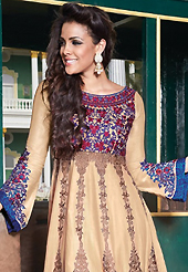 This season dazzle and shine in pure colors. The dazzling light fawn lawn cotton churidar suit have amazing embroidery patch work is done with resham work. The entire ensemble makes an excellent wear. Matching cambric cotton churidar and dupatta is available with this suit. Slight Color variations are possible due to differing screen and photograph resolutions.
