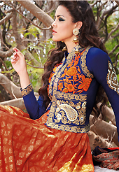 It is color this season and bright shaded suits are really something that is totally in vogue. The dazzling dark orange cotton anarkali churidar suit have amazing embroidery patch work is done with resham and beads work. The entire ensemble makes an excellent wear. Matching cambric cotton churidar and shaded chiffon dupatta is available with this suit. Slight Color variations are possible due to differing screen and photograph resolutions.