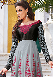 The fascinating beautiful subtly garment with lovely patterns. The dazzling grey and black lawn cotton anarkali churidar suit have amazing embroidery patch work is done with resham work. The entire ensemble makes an excellent wear. Matching black cambric cotton churidar and black chiffon dupatta is available with this suit. Slight Color variations are possible due to differing screen and photograph resolutions.