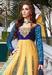 Take a look on the changing fashion of the season. The dazzling dark cream and blue lawn cotton anarkali churidar suit have amazing embroidery patch work is done with resham work. The entire ensemble makes an excellent wear. Matching blue cambric cotton churidar and blue chiffon dupatta is available with this suit. Slight Color variations are possible due to differing screen and photograph resolutions.