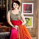 Dark Pink and Dark Orange Net Anarkali Churidar Kameez with Dupatta