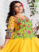 Take a look on the changing fashion of the season. The dazzling yellow net anarkali churidar suit have amazing embroidery and velvet patch work is done with resham, gold zardosi and lace work. Beautiful embroidery work on kameez is stunning. The entire ensemble makes an excellent wear. Matching santoon churidar and net dupatta is available with this suit. Slight Color variations are possible due to differing screen and photograph resolutions.