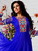 The fascinating beautiful subtly garment with lovely patterns. The dazzling royal blue net anarkali churidar suit have amazing embroidery patch work is done with resham and gold zardosi work. Beautiful embroidery work on kameez is stunning. The entire ensemble makes an excellent wear. Matching santoon churidar and net dupatta is available with this suit. Slight Color variations are possible due to differing screen and photograph resolutions.