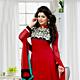 Red Faux Georgette Churidar Kameez with Dupatta