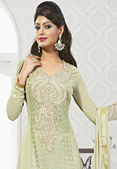 Attract all attentions with this embroidered suit. The dazzling pale olive green faux georgette churidar suit have amazing embroidery patch work is done with resham work. Matching santoon churidar and chiffon dupatta is available with this suit. Slight Color variations are possible due to differing screen and photograph resolutions.
