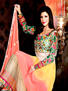 Your search for elegant look ends here with this lovely suit. The dazzling multicolor georgette long style anarkali churidar suit have amazing embroidery patch work is done with resham and zari work. Beautiful embroidery work on kameez is stunning. The entire ensemble makes an excellent wear. Matching off white santoon churidar and peach chiffon dupatta is available with this suit. Slight Color variations are possible due to differing screen and photograph resolutions.