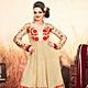 Dark Cream Net Anarkali Churidar Kameez with Dupatta