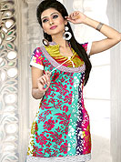 Pretty cotton kurti beautified with flowers patterns print work. Neck pattern make it stylish and trendy. Color combination of this kurti is nice. It's a casual wear drape. Another colors of this kurti shown in image. Slight Color variations are possible due to differing screen and photograph resolutions.