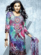 Emblem of fashion and beauty, each piece of our range of printed kurti is certain to enhance your look as per today's trends. This fantastic faux crepe printed tunic is beautified with floral and abstract art print work. Matching stole is available with this tunic. Bottom shown in the image is just for photography purpose. The tunic can be customize upto 40 inches. Slight Color variations are possible due to differing screen and photograph resolutions.